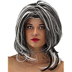 Peluca de bruja, color negro y blanco, media melena.
