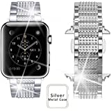 Memore Luxury Alloy Crystal Rhinestone Diamond Bracelet, Apple Watch Strap, Apple Watch Band, Replacement Wrist Band, Bracelet Band For Apple Watch, IWatch, Series 1, Series 2, Series 3 & Nike Sport Series (42mm, Silver)