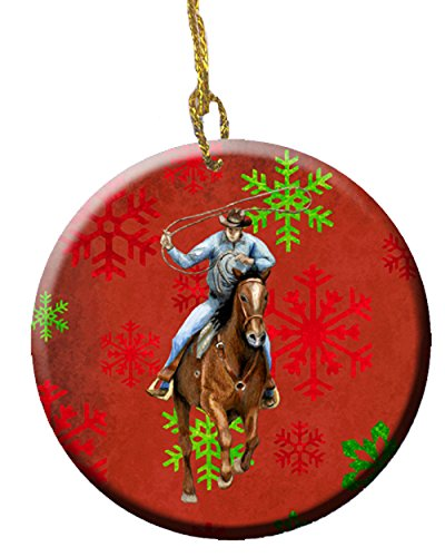 Carolines Treasures sb3127co1Pferd Roper rot Schneeflocken Weihnachten Holiday Ornament Keramik & # 44; 2,81Dia -