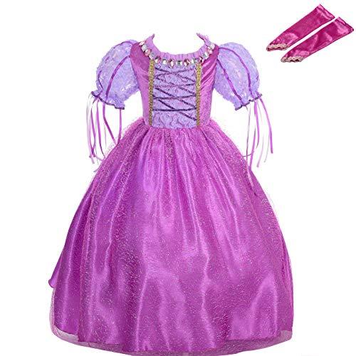Lito Angels Mädchen Prinzessin Rapunzel Kleid Kostüm Weihnachten Halloween Party Verkleidung Karneval Cosplay Kinder mit Arm Handschuhe 4-5 Jahre