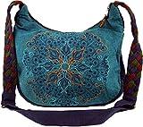 Guru-Shop Ethno Schultertasche, BohoTasche Mandala, Nepal Tasche - Petrol, Herren/Damen, Blau, Baumwolle, Size:One Size, 26x33x5 cm, Alternative Umhängetasche, Handtasche aus Stoff