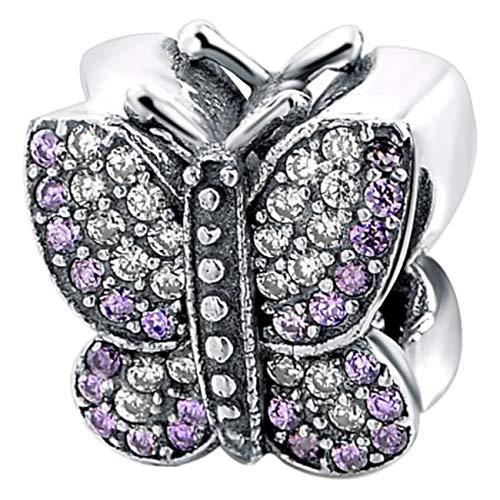 Truly Desired Jewellery Charm-Anhänger Schmetterling mit funkelnden Zirkonia-Steinen, 925er Sterlingsilber. Inklusive Geschenkverpackung. Passend für Pandora-, Chamilia- und Trollbead-Armbänder. (Happy Birthday Charme Pandora)