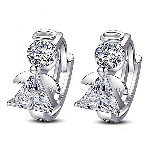ZHWM Ohrringe Ohrstecker Ohrhänger Mode Engel 925 Sterling Silber Luxus Doppel Kristall Für Frauen Ohr Schmuck Frauen Baumeln 1 Paar