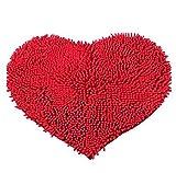 Danapp Home Supplies Chenille Herzform Badezimmer Matte Teppich, Red 40 * 50cm, Einheitsgröße