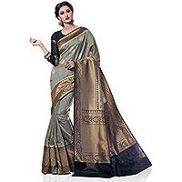 Meghdoot Women's Traditional Woven Kanchipuram Spun Silk Saree Grey and Black Color Sari