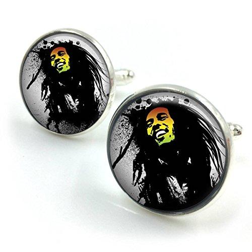 Vergoldet Bob Marley Manschettenknöpfe| Reggae| Jamaika| Marley| Musik| Rasta Geschenk für ihn| Geschenk für Männer| Geschenk für boyfriend_2 (Tragen Bob Marley Rasta)