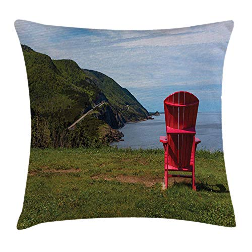 Adirondack Throw Pillow Cushion Cover, Scenic View of a Chair at The Hill Directed to Where Mountainskirts Meet The Sea, Decorative Square Accent Pillow Case, 18 X 18 Inches, Multicolor - Adirondack Chair Satin