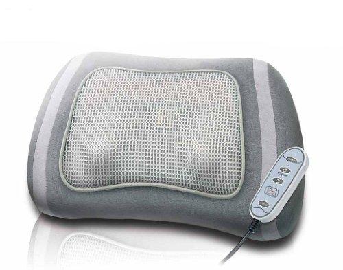 Shiatsu Massagekissen mit zuschaltbarer Rotlicht- und Wärmefunktion, 4 rotierende Massageköpfe mit wählbarer Drehrichtung, Kabelfernbedienung, extra leiser Motor, Entspannung (Massage) und Gesundheit (Infrarot) in einem Massagekissen vereint.