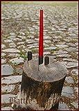 Battle-Merchant Mittelalterlicher Kerzenhalter mit Nagel handgeschmiedet aus Metall - Kerzenständer, Wikinger LARP Mittelalter Garten