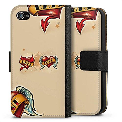 Apple iPhone X Silikon Hülle Case Schutzhülle Liebe Hass Herz Sideflip Tasche schwarz
