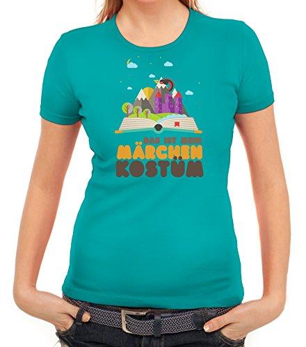 Fasching Karneval Damen T-Shirt mit Das ist mein Märchen Kostüm Motiv von ShirtStreet karibikblau