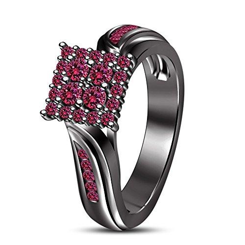 Vorra Fashion Rund Brillantschliff rosa Saphir schwarz rhodiniert Damen-Ring Verlobungsring (Schwarz Und Rosa Saphir-ring)