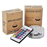 Kitosun Shisha Effekt LED Licht 3aaa batteriebetrieben 7CM RGB Multicolors Wasserdichte LED leuchtet Untersetzer mit Fernbedienung für das Rauchen Shisha Hookah Beleuchtung Dekoration