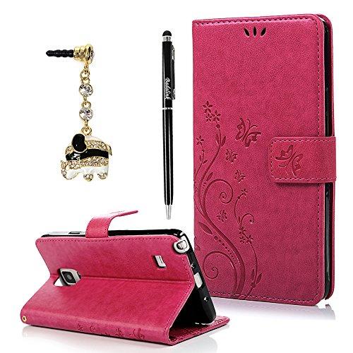 BADALink Hülle für Samsung Galaxy Note 4 Schutzhülle Bunt PU Leder Flip Wallet Case Brieftasche mit Magnetverschluss Blumen Schmetterling Cover Handyhülle Schale Rose Red+Eingabestift+Staubstecker