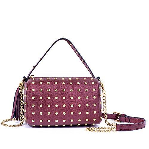 Meoaeo Mini Tasche Kette Nieten Kissen Pack Portable Schulter Messenger Bag Braun Claret