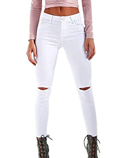 18c95be0d58d Femme Denim Pantalons Slim Taille Haute Jeans Troué Genoux Leggings Crayon Casual  Déchiré Pants