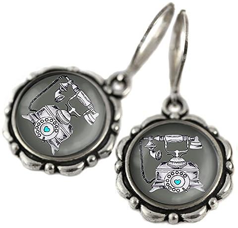 Tizi Jewellery, Telefon Ohrringe, handgefertigte Ohrringe mit Sterling Silber 925