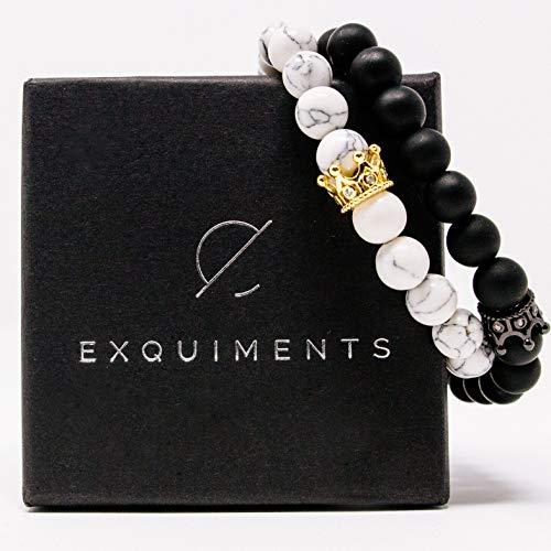 Exquiments Royal Couple Partner Armbänder inklusive hochwertiger Geschenkbox I echte Edelsteine mit 8mm Durchmesser