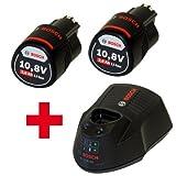 3er NEW Akku Powerpack 2x Bosch Akku Ersatzakku 10,8V 2,0Ah Li-Ion + Schnellladegerät AL1130CV