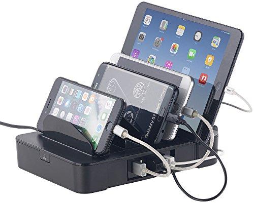 6-Fach-Ladestation mit 5-Port-USB-Netzteil, Smart Power, 40 Watt, 8 A (Ladestation iPhone) ()