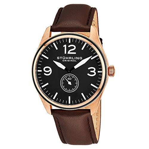 Stührling Original 931.03 - Reloj analógico para hombre, correa de cuero, color marrón