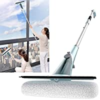 Vivo Technologies WS-1 Long Reach 1.37m Window Cleaner with Integrated Water Spray Jet and Microfibre Cleaning Pad for High and Low Indoor Outdoor Glass, Aluminium
