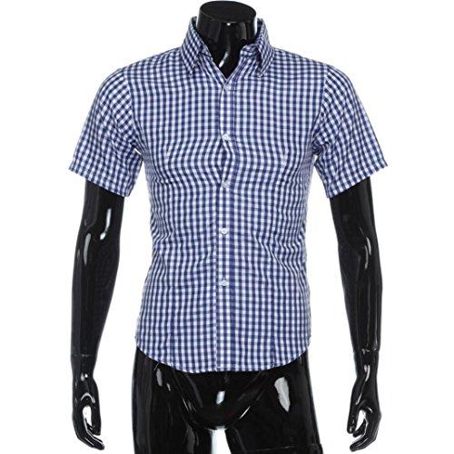 Herren Bluse T-Shirt ❤Men es Classic Plaid Shirt Sommer Kurzarm Hemd❤Men's Polo Shirt Herren Freizeit Hemd Kariert Drucken Kontrast Trachtenhemd Poloshirt Lässig Kurzarm T-Shirt (Blau, XXL) (Classic Shirt Plaid Fit)