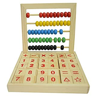 HugeStore Wooden Wood Abacus Desk Soroban for Kids with Colorful Beads Mathematics Toys