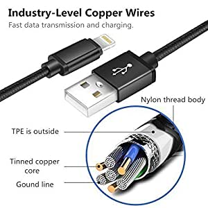 Live2pedal iPhone câble, Lot de 40,9m 1,8m 1,8m 3m vers USB câble de synchronisation et chargement des données en nylon tressé Cordon chargeur pour iPhone X iPhone 8/8plus/7/7Plus/6/6Plus/6s/6S Plus/5/5S/5C/SE et plus (Noir), white23