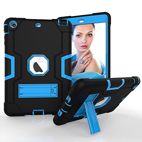 für iPad Mini 2, iPad Mini 3, dreilagiges Silikon + Harte PC Bumper Armor Defender strapazierfähig stoßfest robust Hybrid Schutzhülle mit Ständer für iPad Mini 1/2/3, schwarz/blau ()