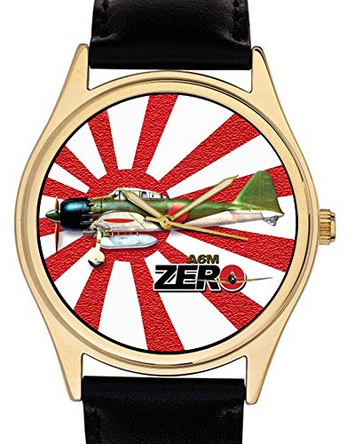 ww-ii-japanese-air-force-mitsubishi-a6m-zero-fighter-nippon-flag-art-collectible-wrist-watch-