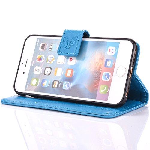 iPhone 6 Plus Coque, Cozy Hut Campanula fleur Motif Housse Magnétique pochette Case Stand Flip [PU Cuir][Flap Fermeture] Protecteur Etui Housse Coque Cover pour iPhone 6 Plus Housse Étui, PU Cuir Bump bleu