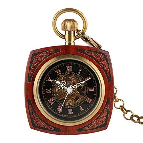 LWKBE Holz und Bambus Square Pocket Watch, Vintage gerade Platte ohne Deckel automatische mechanische Taschenuhr mit römischen Ziffern in Box für Vatertag, Weihnachten,Red Red Square Platte