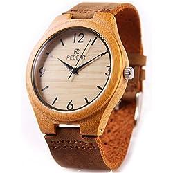 Casual bambú madera relojes de pulsera por Redear con Correa natural piel de vaca Movimiento de cuarzo japonés
