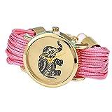 Las niñas elefante patrón cuerda trenzada pulsera cuarzo dial muñeca reloj rosa