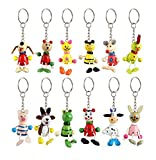 24 X Animal Wooden Key Chain Rings