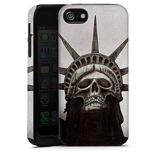 Apple iPhone X Silikon Hülle Case Schutzhülle Freiheitsstatue Skull Totenkopf Tough Case matt