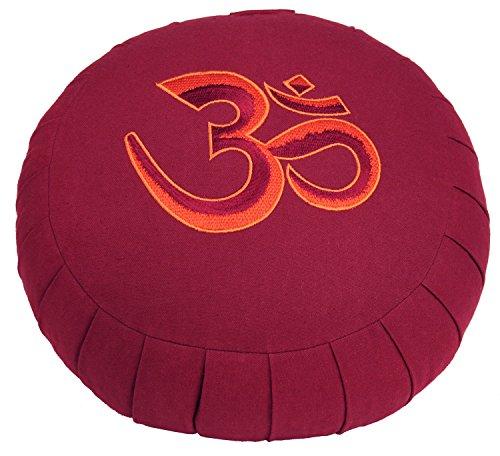 """Meditationskissen ZAFU BASIC (weinrot) rund mit Dehnfalten, mit Stickerei """"OM"""" (rot), Dinkel-Füllung, Ø 32 cm,17cm hoch, Yogakissen, Sitzkissen"""