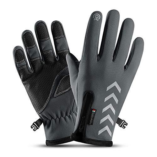 GXMGYT Winter Fahrradhandschuhe Herren Touchscreen verschleißfeste warme Handschuhe Outdoor-Motorrad Fahrrad @ L_gray