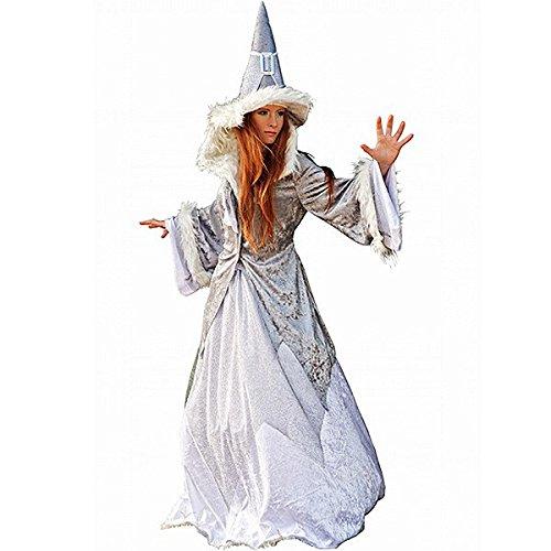 Glitzer Kostüm Fasching Märchen Fee Magierin Damen spitzer Hut weites Kleid Jacke mit Kunstfell - M (Frau Magierin Kostüm)