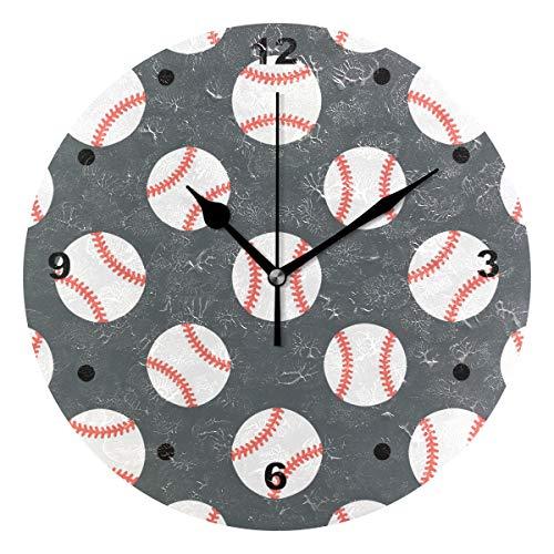 SUNOP Uhr für Kinder, mit Öldruck, Baseball-Wanduhren für Wohnzimmer, Schlafzimmer und Küche, Vintage-Schreibtisch- und Regaluhren -