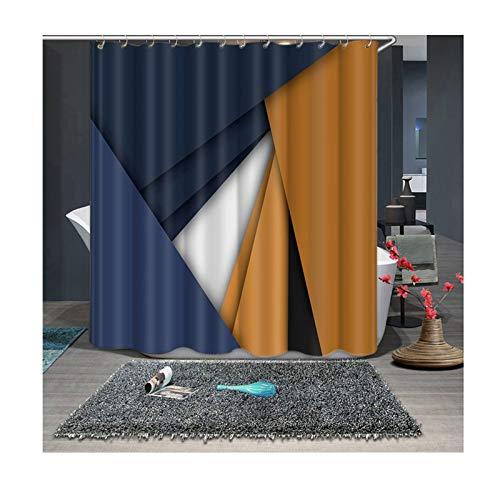 Aienid Cortina Ducha Gris Geometría Multicolor Cortinas De Baño Size:120X180CM