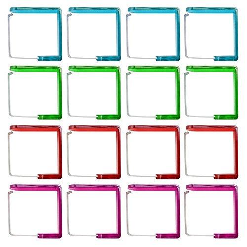 COM-FOUR 16x Tischtuchklammern aus Edelstahl und Kunststoff in 4 verschiedenen Farben (16 Stück - rot/grün/pink/türkis)