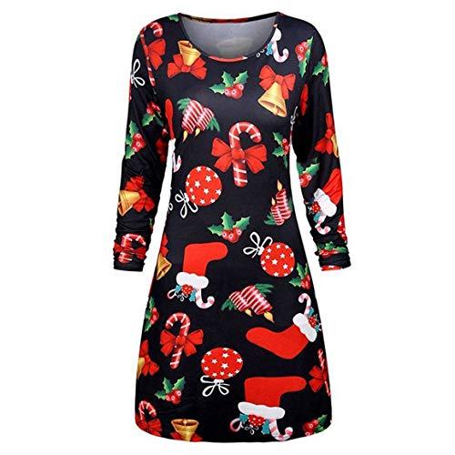 Frauen Langarm Dress Damen Weihnachten Bluse weibliche gedruckt Langarm oansatz Abend Prom kostüm Druck schaukel Dress Moonuy (Downton Abbey Abend Kostüm)