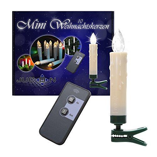 60er-Set LED Mini-Weihnachtskerzen Jucon, Kabellos, warm-weisses Licht, LED Christbaumkerzen, Innen und Außen