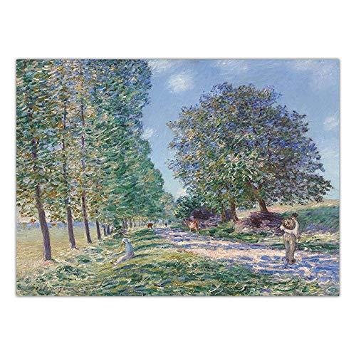 LKYH Hauptdekoration Kunst Wandbilder für Wohnzimmer Poster Print Leinwand Drucke Paintingsn Französisch Alfred Sisley Landschaft -60cm*90cm(Rahmenlos) -