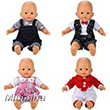 Miunana 4x Ropa Verano Ropas Mono Casual Fashion para 14 pulgadas muñeca bebé 36 cm Doll