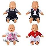 Miunana 4 Sets Kleidung Strampler Schlafanzug Kleid Puppenkleidung für 36cm Babypuppe Puppen Ohne Puppe