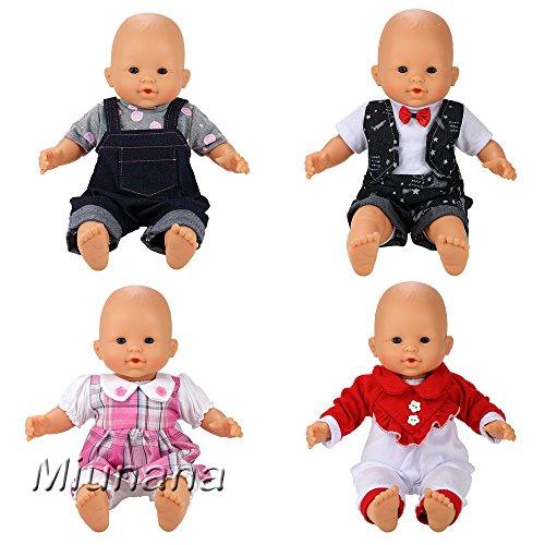 Schuhe Mime Kostüm - Miunana 4 Sets Kleidung Strampler Schlafanzug Kleid Puppenkleidung für 36cm Babypuppe Puppen Ohne Puppe