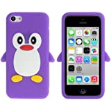 Coque silicone cartoon Pingouin pour iphone 5C violet